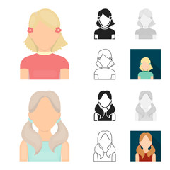 Avatar and face cartoon,black,flat,monochrome,outline icons in set collection for design. A person appearance vector symbol stock web illustration.