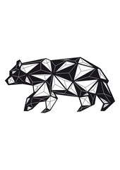geometric black and white bear
