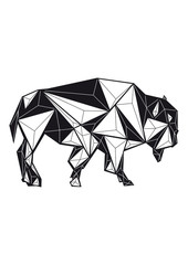 geometric black and white bison