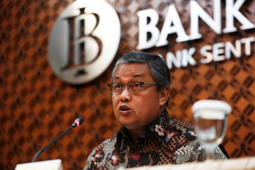 Bank Indonesia governor Perry Warjiyo speaks during media briefing at Bank Indonesia headquarters in Jakarta