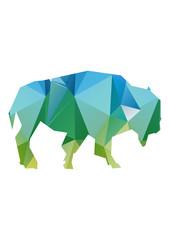 geometric colored bison