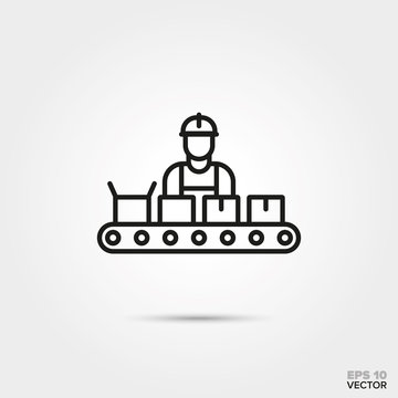 Worker at assembly line vector line icon. Manufacturing and industry symbol.