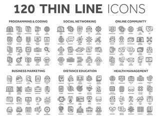 Programming,coding. Data management. Social network, computing. Information. Internet connection. Business marketing. School and education. Medicine. Thin line black icons with circle set. Stroke.