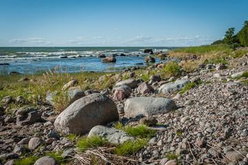 Rocky coastline of the Baltic sea in summer. The Gulf of Finland, Estonia..