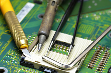 Tools on the motherboard of the laptop