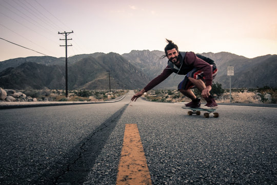 downhill skateboarding in the mountains in america