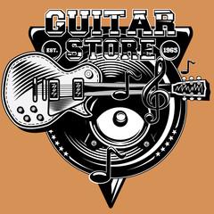 Guitar store monochrome emblem