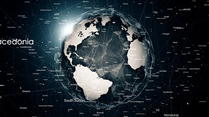 Global network connections around the earth