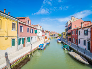 Venice, Italy - Among the canals of the island of Murano, famous for its artistic glass craftsmanship
