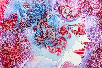 disegno acquerello bella ragazza anima
