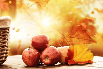 Apfelernte Hintergrund rustikal