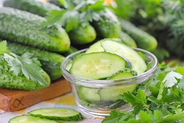 Salad with fresh cucumber