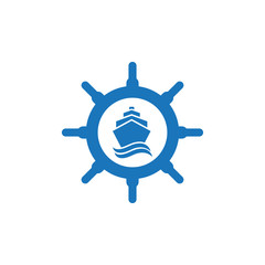 Ship's wheel logo or icon vector design template