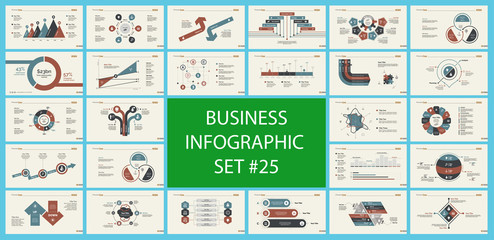 Set of analysis or marketing concept infographic charts. Business diagrams for presentation slide templates. For corporate report, advertising, banner and brochure design.