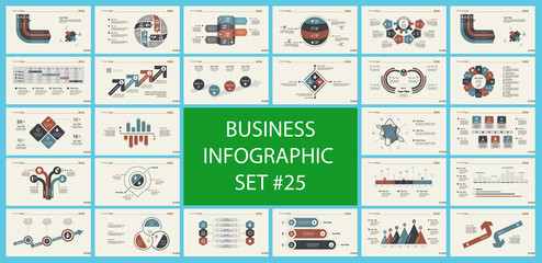 Set of marketing or economics concept infographic charts. Business diagrams for presentation slide templates. For corporate report, advertising, banner and brochure design.