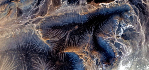 The eagle, the thinker and the bottom of the sea,abstract photography of the deserts of Africa from the air, bird's eye view, abstract expressionism, contemporary art, optical illusions,