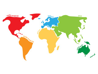 Multicolored world map divided to six continents in different colors - North America, South America, Africa, Europe, Asia and Australia. Simplified silhouette vector map with continent name labels