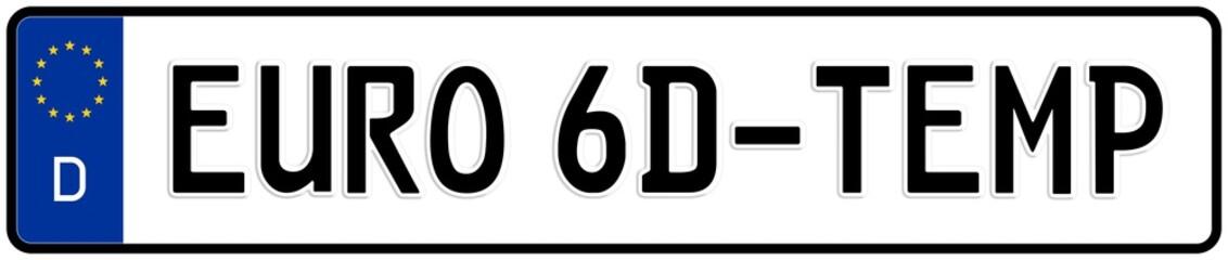 spkw61 SignPersonenKraftWagen spkw - Schrift: Euro 6d-TEMP Abgasnorm / Fahrzyklus WLTP und Messung Real-Driving-Emissions (RDE) - Kennzeichen: Autokennzeichen / Nummernschild - banner xxl g6254