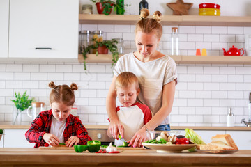 Image of young mother with daughter and son cooking at table