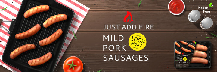 Mild pork sausages ads. Sausages on grill pan with tomato, sauce and spice on wooden texture. Top view on delicious meal.