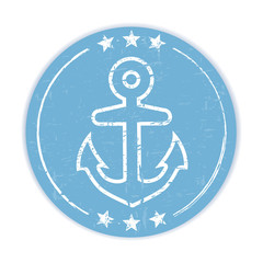 Blue grungy label with anchor symbol on white background