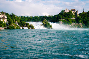 View of the european biggest waterfall Rheinfall in Switzerland.