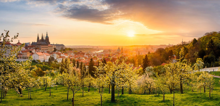 A beautiful spring view of Prague at sunrise from Petrin hill. Prague Castle and St. Vitus Cathedral on the left and a golden rising sun in the background.