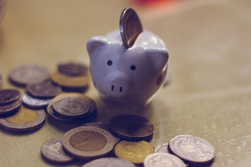 happy piggy bank and coins.