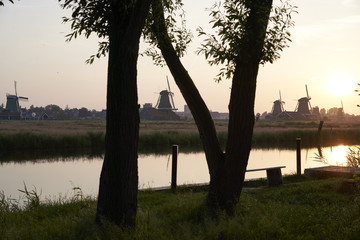 Sunset at the Zaanse Schans, an area just outside of Amsterdam with a lot of traditional wind mills.