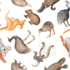 Seamless pattern of Australian animals. Hand-drawn watercolor on a white background. Kangaroo, koala, cassowary, kiwi, wombat, echidna, lira bird, Emu.