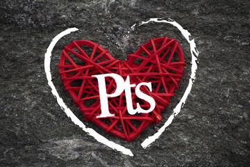 Love of money. Spanish peseta symbol on a red heart. Love theme