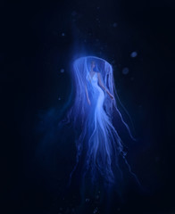 A jellyfish girl floating in levitation on a dark ocean floor. A beautiful, white dress and a hat with tentacles fluttering about the water. Space, alien creation. Art photo.