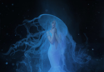 A white mermaid, with very long and blue hair floating under the water. An unusual image, the tail of a jellyfish. Levitation and weightlessness. Pale skin, gentle makeup. Art photo