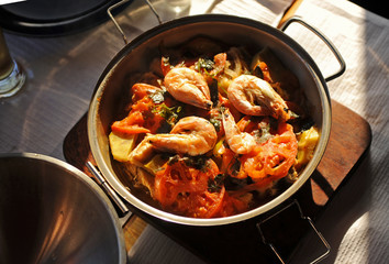 Seafood cataplana stew, traditional cuisine from the Algarve, southern Portugal
