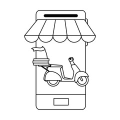 smartphone with motorcycle delivery service
