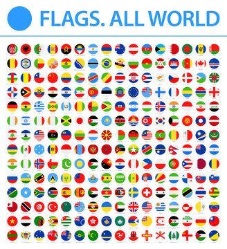All World Flags - New 2018 - Vector Round Flat Icons. New versions of Afghanistan and Mauritania flags and Additional List of Other States