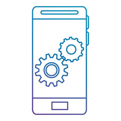 smartphone with gears settings vector illustration design