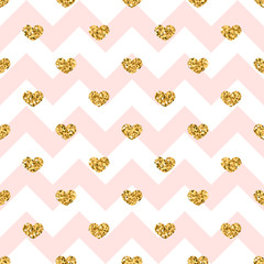Gold heart seamless pattern. Pink-white geometric zig zag, golden confetti-hearts. Symbol of love, Valentine day holiday. Design wallpaper, background, fabric texture. Vector illustration