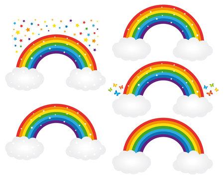 Beautiful starry rainbows illustrations. Vector icons set.