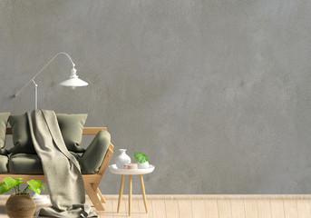 Modern interior, Scandinavian style. 3D illustration. Wall mock up