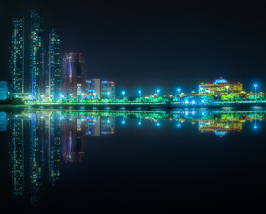 View of Abu Dhabi Skyline at night, UAE