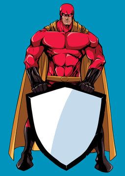 Superhero Holding Shield