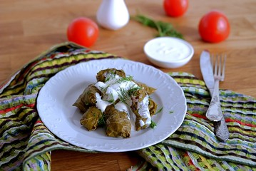 Dolma / Sarma, a traditional Armenian dish, minced meat with rice and spices in grape leaves.Served with natural yogurt and garlic sauce