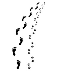 Footprints of man and dog, turn right