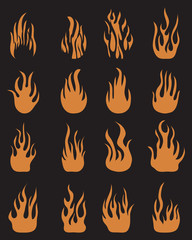 Icons of fire flames on a black background