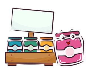 Mascot Fruit Jam Board Illustration