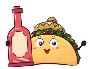 Mascot Taco Hot Sauce Bottle Illustration