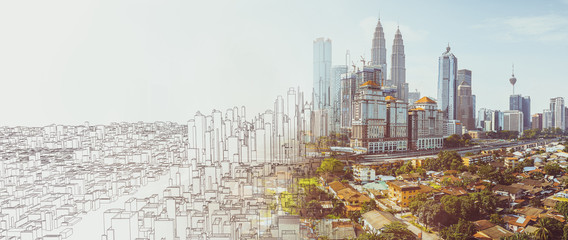Sketch and real mix urban cityscape scene , development and real estate business concept , mixed...