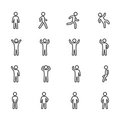 Vector image set of posture people line icons.