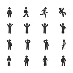 Vector image set of posture people icons.